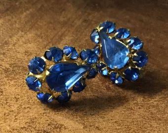 Very Rich Blue Rhinestone Earrings Unsigned Screwback Round Teardrop Faceted Rhinestones Royal Blue Luxe Evening Wear 1940's 1950's Feminine
