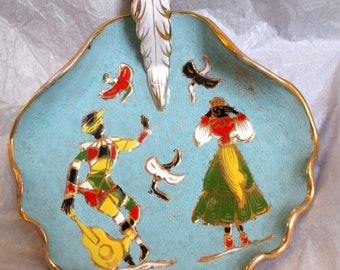 Vintage Italian Ceramic Bowl Signed Numbered Italy Art Pottery Hand Painted Dish Couple Dancing Birds