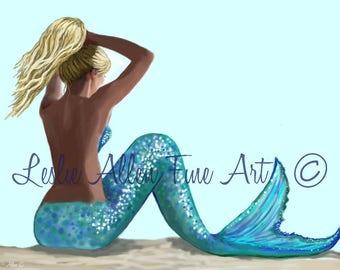 """Mermaid Art Mermaid Art Print Mermaid Wall Art Mermaid Decor Beach Art Decor Mermaids Blonde  """"COOLING OFF BEAUTY""""  Leslie Allen Fine Art"""