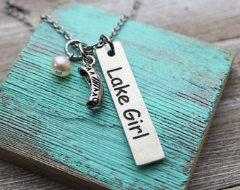 Lake Girl Fine Pewter Charm Necklace
