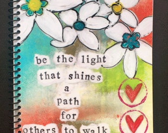 "Be the Light that Shines 5.5"" x 8.5"" Coil Bound Gratitude Journal, Gratitude Practice"