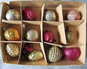 Antique Blown Glass Miniature Christmas Ornaments, German