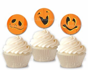Halloween Pumpkin Faces Cupcake Toppers, Jack O'Lantern Halloween Party Picks, Set of 12 Cupcake Toppers CT002