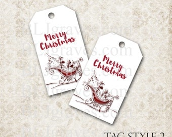 Christmas Gift Tags Party Favor, Santa Sleigh Treat Bag Tags, Handmade Housewarming Tags TC019