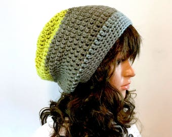 Fall and Winter Slouchy Beanie -  Acrylic Wool Blend yarn - lime green, gray, slate blue - boho hipster indie