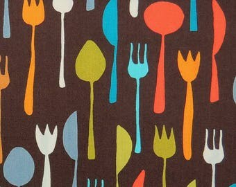 Brown Fabric with Colorful Forks Knives and Spoons by Robert Kaufman(by the yard)