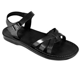 15% OFF New - Black Gaia Leather Sandals For Men & Women - Handmade Sandals, Leather Flats, Leather Flip Flops, Unisex Sandals, Brown Sandal