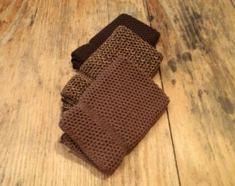 Dishcloths Knit in Cotton in Mission Oak, Brown and Dk Brown/Acorn/Rice, Knit Wash Cloth, Dishcloth, Washcloth,