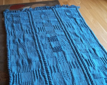 Knit Blanket/Afghan in Country Blue, Afghan, Blanket, Throw