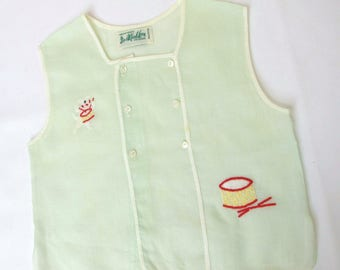 Vintage Baby Boy Clothes Green Diaper Shirt Drum Embroidery Nursery Shower Decor Photo Photography Props Alfred Leon Handmade Original 1950s