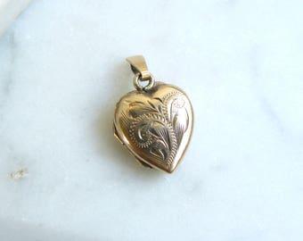 Vintage Gold Heart Locket, 9ct Gold Back and Front Locket Necklace,