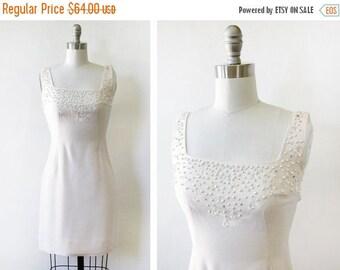 20% OFF SALE 50s cocktail dress, vintage beaded rhinestone white dress, 1960s wiggle dress