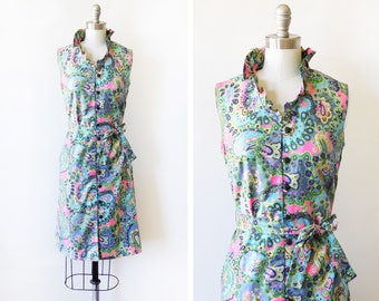 vintage 60s dress, 1960s paisley floral mod dress, blue and pink button up sheath dress, small s