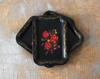 black floral trays, vintage small catch-all tin trays, red roses flower toleware style card snack cocktail metal trays - set of four
