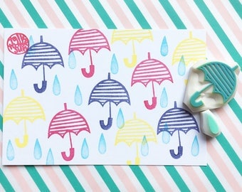 umbrella and rain drop rubber stamps. weather hand carved stamp. snail mail decor. card making. set of 2. no2. handmade by talktothesun