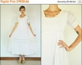 FLASH SALE Vintage 70's Wedding Floral Embroidered Ribbon White Pastel Boho Tiered Crochet Maxi dress S M