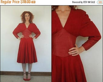 SUMMER SALE Vintage 80's does 40's Suede leather Flared Pinup Party Red Batwing Glam Midi dress XS
