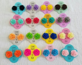 Large Open Rose Beautiful Bloom Flower Earrings Available in a Variety of Colors
