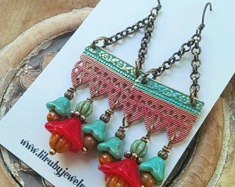 Gypsy chandelier earrings, boho earrings, artisan made, hand painted