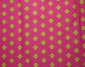 michael miller pillow maxfield gypsy bandana firefly hot pink lime cotton quilting fabric destash fabric by the yard