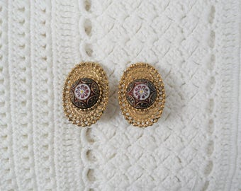 Ginnie Johansen Gold Tone Moroccan Clip On Earrings