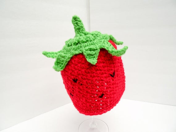 Strawberry Baby hat Beanie, Berry Hat, Made to Order, Custom