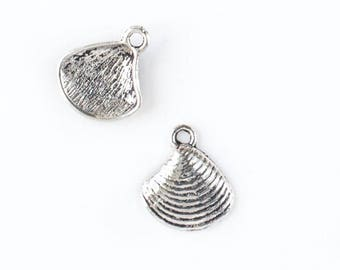 13x15mm Silver Pewter Clam Shell Charm - 10 per bag