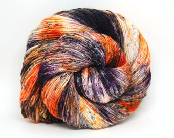 "Acoustic Sock Yarn - ""Punk Rock Pumpkin"" - Handpainted Superwash Merino - 400 Yards"