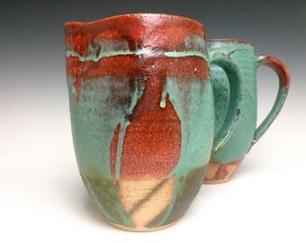 Stoneware Pitcher; Functional Ceramic Arts; Drip Technique; Jade And Crimson Collection