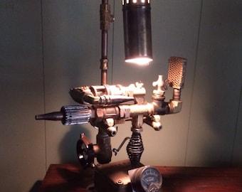 Original Handcrafted Steampunk Ray Gun with Lamp Cradle - Original Art