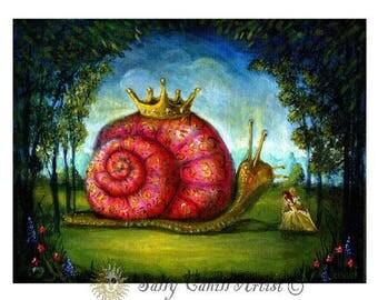The Snail and the Lady, Fine Art Print, Fairy tale Print, Fantasy Art Print