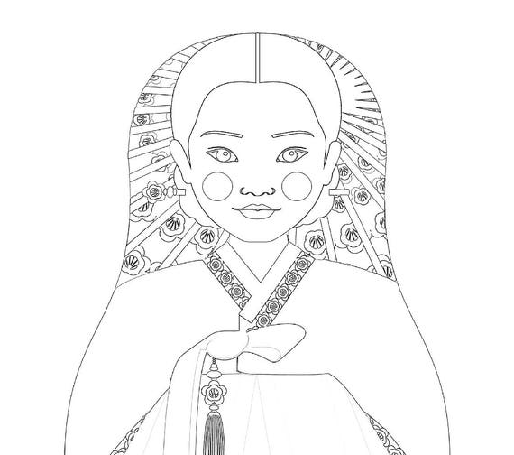 Korean Girl Matryoshka Coloring Sheet Printable file