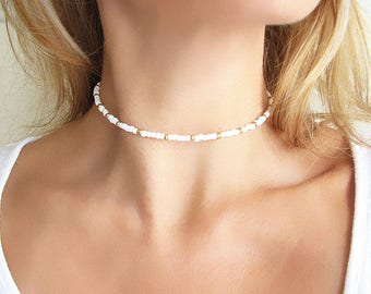 White Beaded Choker White Choker Gold Choker Necklace