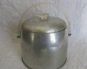 Vintage Kromex Ice Bucket Aluminum and Lucite Fair Condition