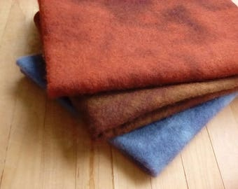 """Hand Dyed Wool Felt, WOODSY, Three 18"""" x 22"""" Sheets in Brown, Rust and Gray"""