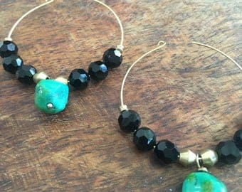 Turquoise gold hoop earrings   turquoise with black crystals   turquoise brass