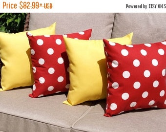 Yellow Outdoor Throw Pillow  - Red Polka Dot and Sundeck Yellow Outdoor Throw Pillow - 4 Pack Free Shipping