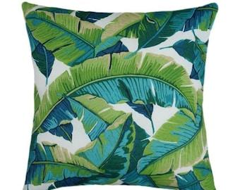 Tropical STUFFED Outdoor Throw Pillow, 18x18 inch, Green Outdoor Pillow, Banana Leaf Pillow, Green Turquoise Cobalt Blue Pillow - Free Ship
