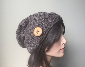 Crochet Hemp Wool Slouchy Hat cabled button tab Beanie boho hipster hippie hand knit hat Winter Fashion Ready to ship