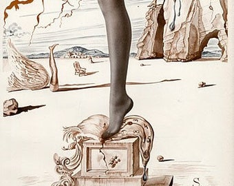 Vintage Hosiery, Garter Stockings,Bryan's Hosiery, Salvador Dali, Thigh Highs, WWII Women's Stockings, Size 10R, Dead Stock, Mens Stockings