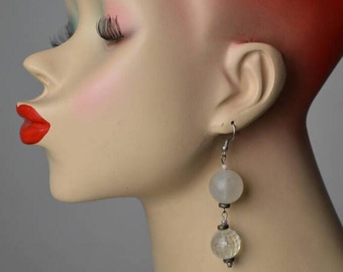 sale Disco Earrings, Disco Ball Earrings, 70s Earrings, Drop Earrings, Dangle Earrings, Clear Earrings, Frosted Earrings, 1970s Earrings,