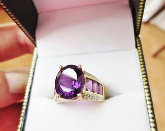 Vintage Amethyst Diamond Ring 14k Yellow Gold Estate Fine Jewelry Purple Gemstone Birthstone Statement Cocktail Dress Ring