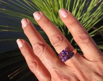 Amethyst Ring 14k Yellow Gold Vintage Estate Fine Jewelry Purple Gemstone February Birthstone Toi et Moi Round Square Stones NOS