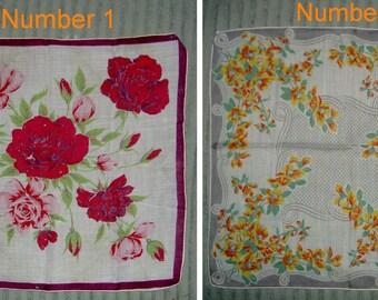 Vintage Handkerchiefs (Hankies) - Flowers, Floral Designs, Striped, Crocheted