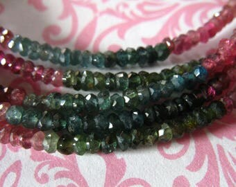 Tourmaline Rondelles, Luxe AAA, 3-3.5 mm, rubelite pink green petrol october birthstone exotic high end wt 30