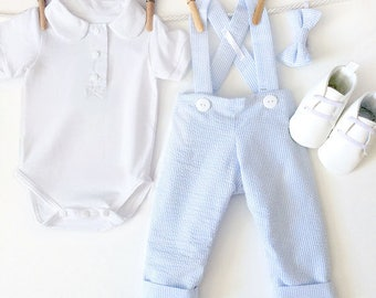 Baby Blue Seersucker Wedding Outfit, 4 Piece Toddler Boy Outfit, Ringbearer Outfit, Boys Wedding Clothes, Boys Outfit, Baby Boy Wedding