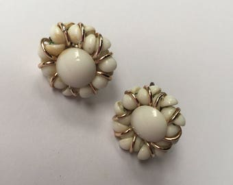 Vintage White Bead Clip On Earrings