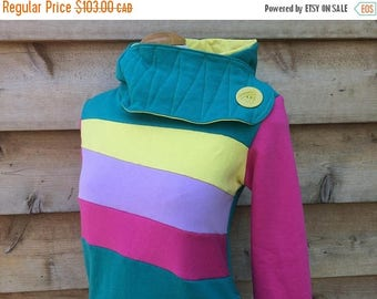 20% SALE Hoodie Sweatshirt Sweater Handmade Recycled Upcycled One of a Kind CORAL REEF Ladies Small - Cute Pockets Color Block