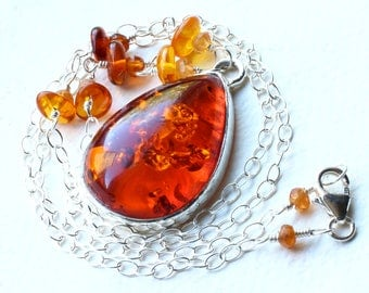 """Amber Necklace, Baltic Amber on Sterling Silver - """"Firestar"""" by CircesHouse on Etsy"""