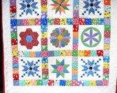 Baby quilt Quilted Wall Hanging  Retro Thirties baby blanket  patchwork quilt  stroller blanket Crib Quiltsy handmade